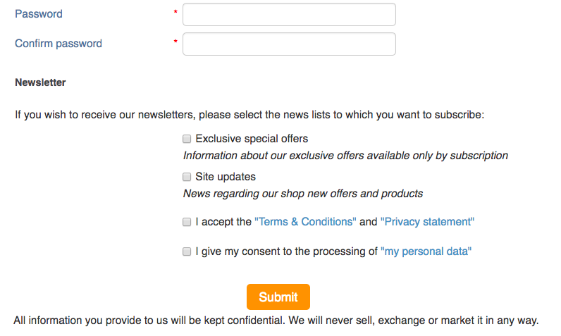 Consent checkbox on the registration page in X-Cart 4