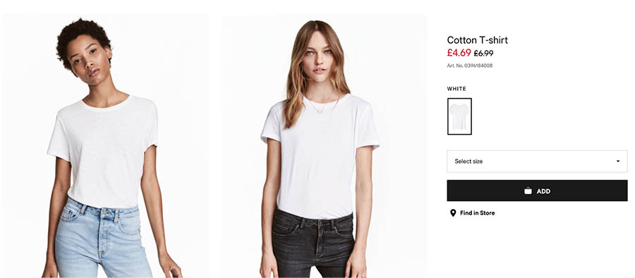 Product listing cotton T-shirt on H&M