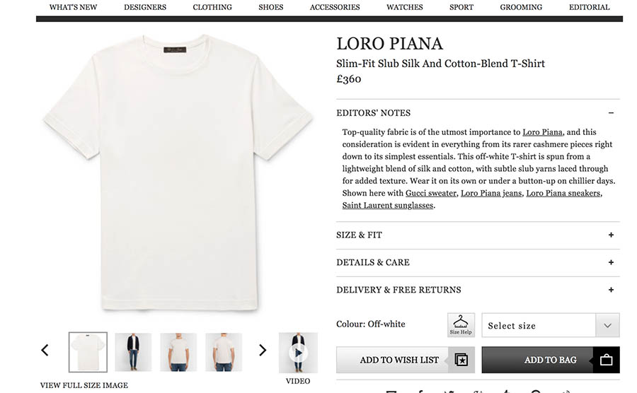 Product listing at Loro Piana