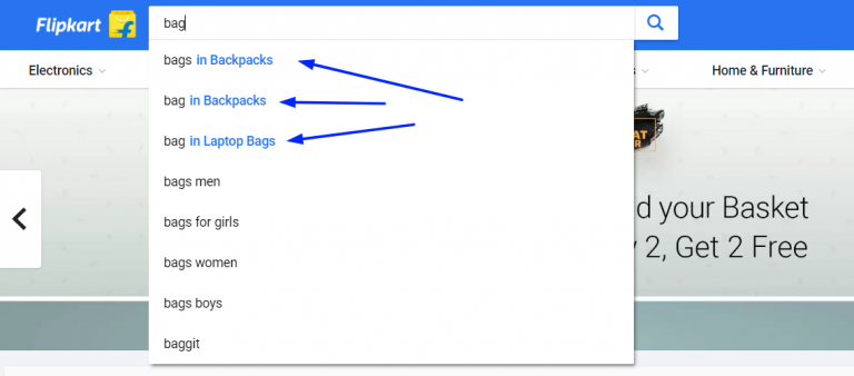 categories search suggestions