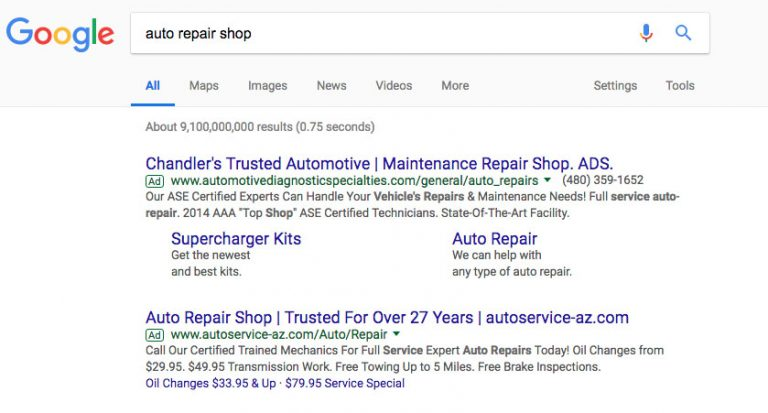 Auto repair shop search results