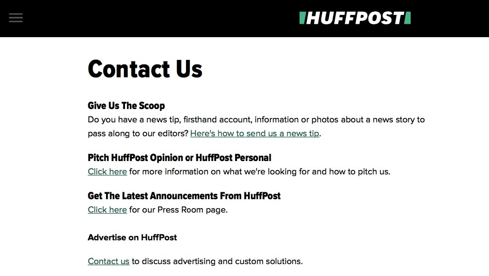 Huffington Post Contact Us Page