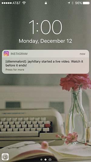 Live Video Notification Instagram
