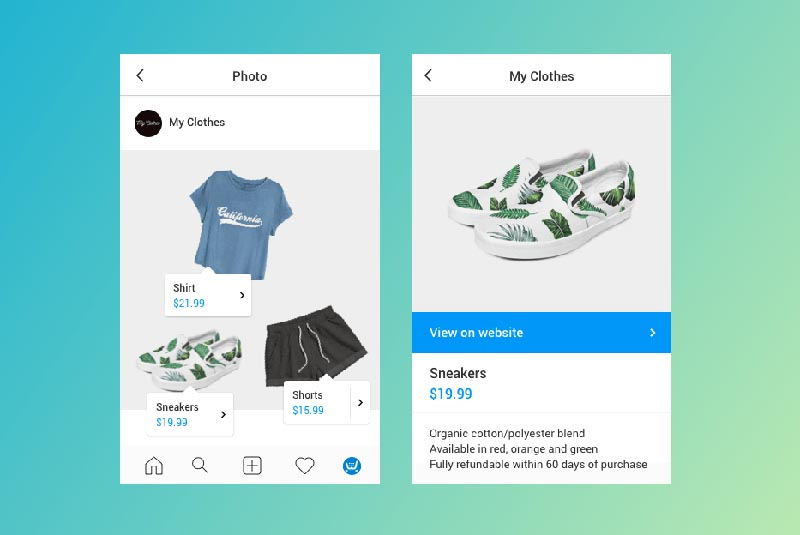 Etiquetas de productos de Instagram