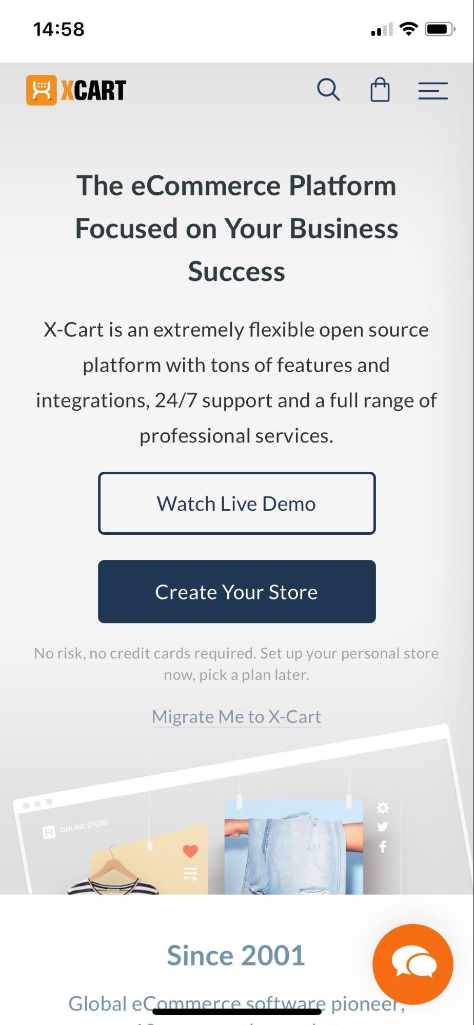 X-Cart.com mobile view