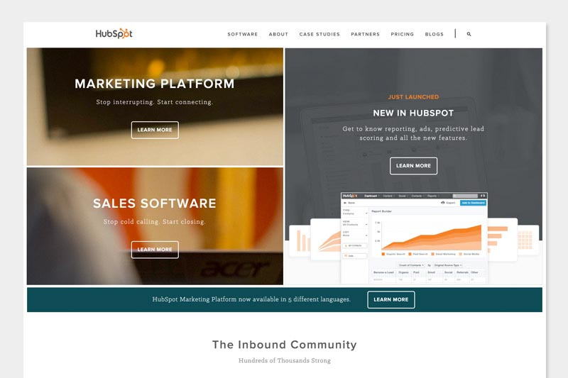 HubSpot homepage design