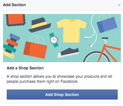 Add Faceboook Shop section