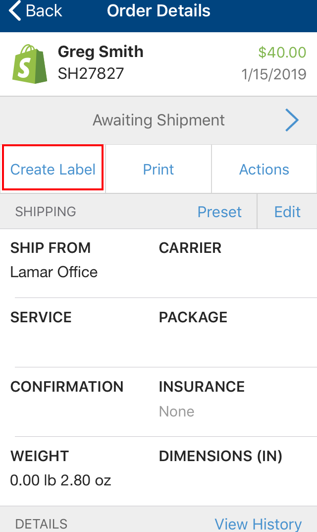 Shipping through mobile App