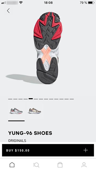 Adidas mobile app for iOs