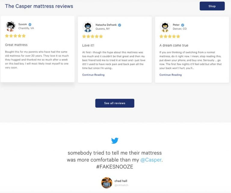 Casper website reviews