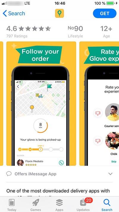 Glovo mobile app