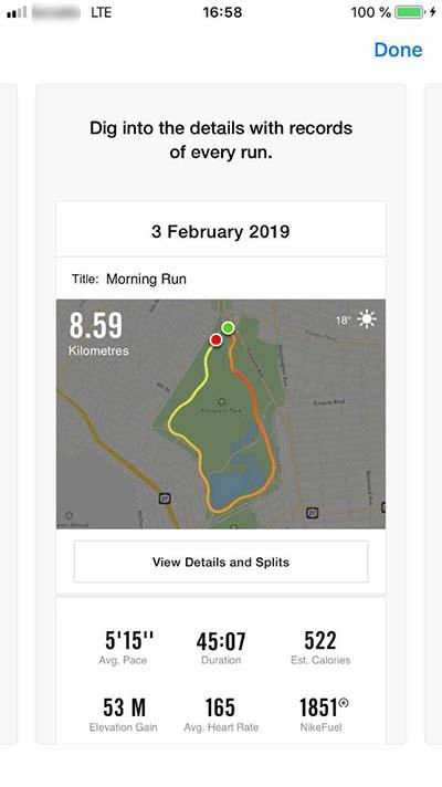 Nike Run Club mobile app