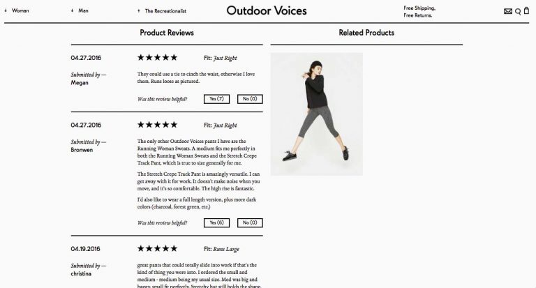 Ratings and reviews feed of Outdoor Voices