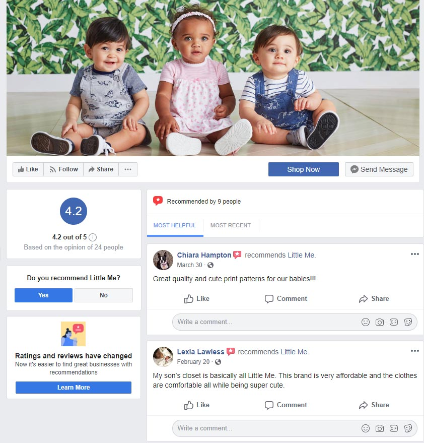 Reviews on your Facebook page