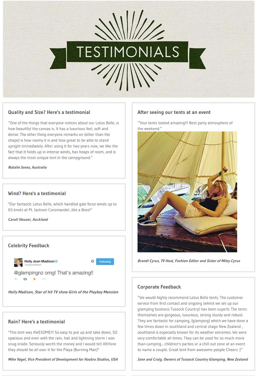 Testimonial page by Lotus Belle