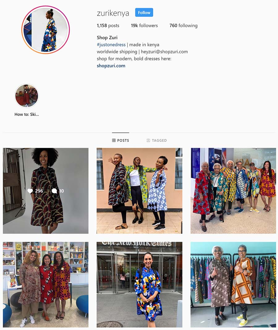Instagram zuri home page