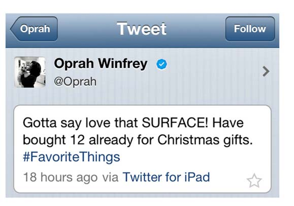 Oprah Winfrey and Microsoft