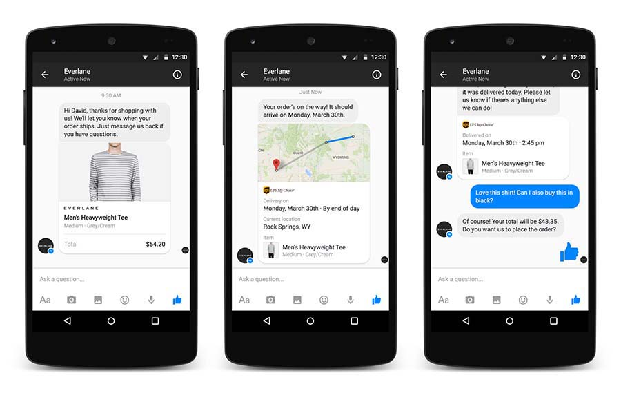 Facebook Messenger transactions