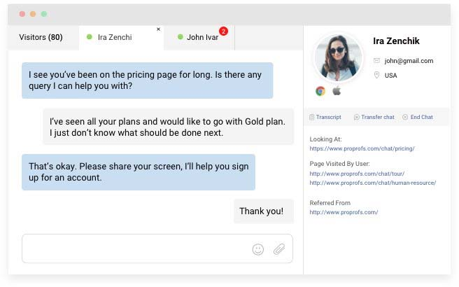 Chat software customer service