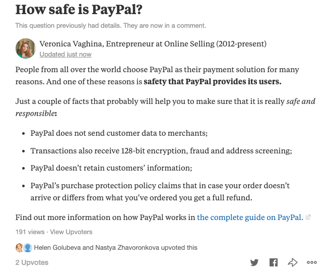 how safe is paypal on Quora