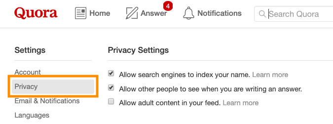 what is quora privacy