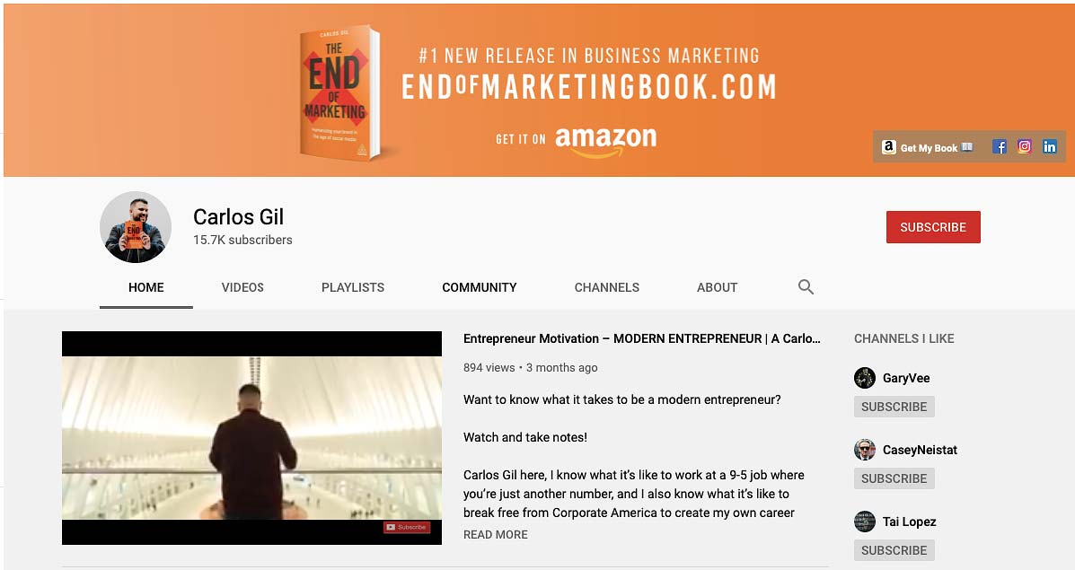 Carlos Gil Social Media Marketing Video Blog