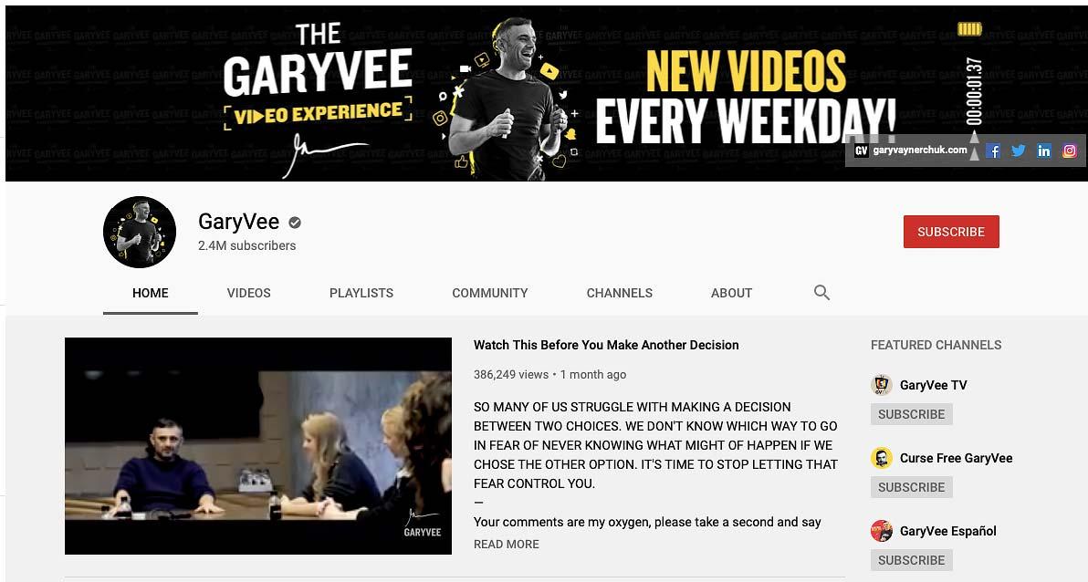 Gary Vee Social Media Marketing Video Blog