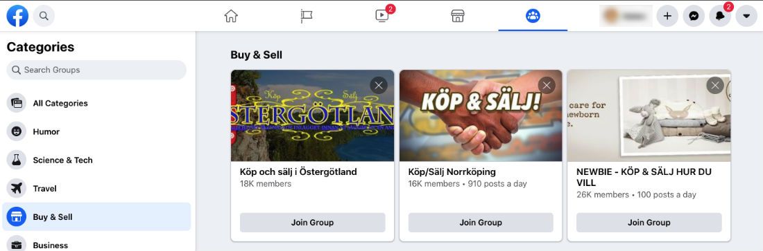 Facebook Buy and Sell Groups