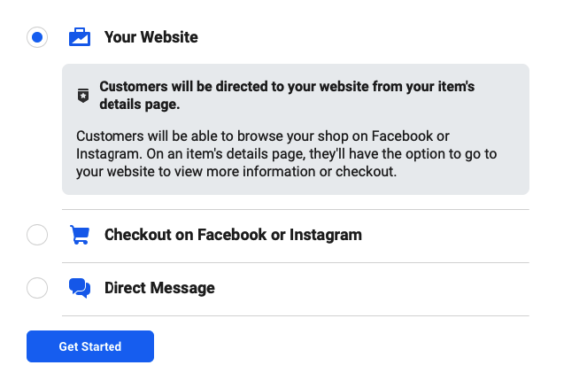 Types of checkout on Facebook
