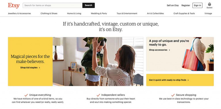 Etsy selling site