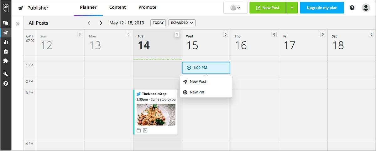 Hootsuite social media calendar