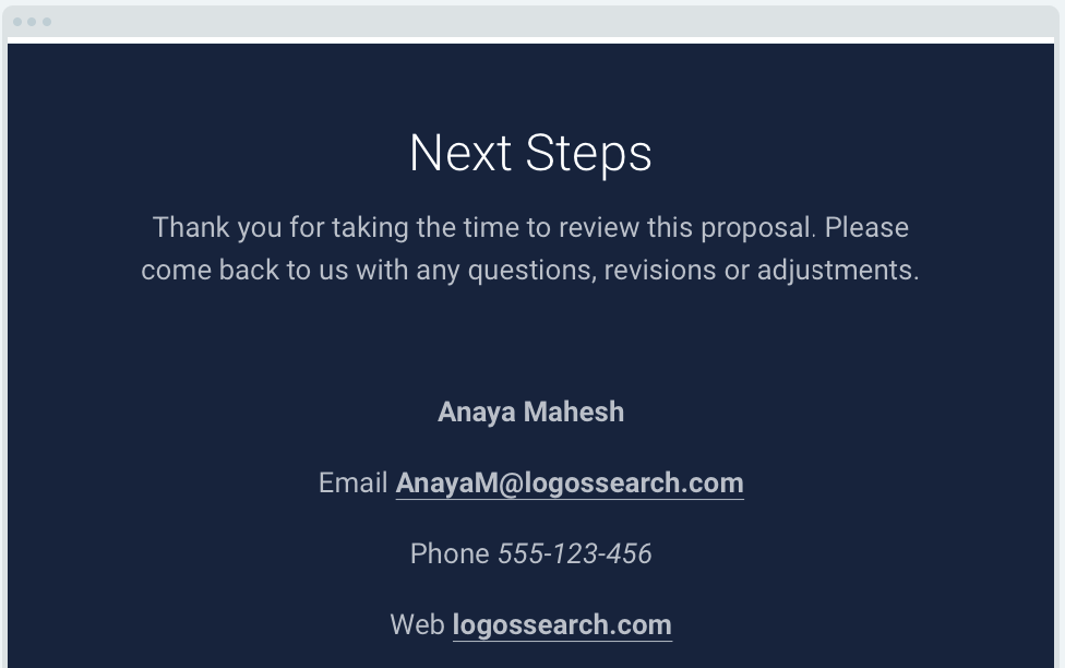 Website Proposal Template: Call to Action