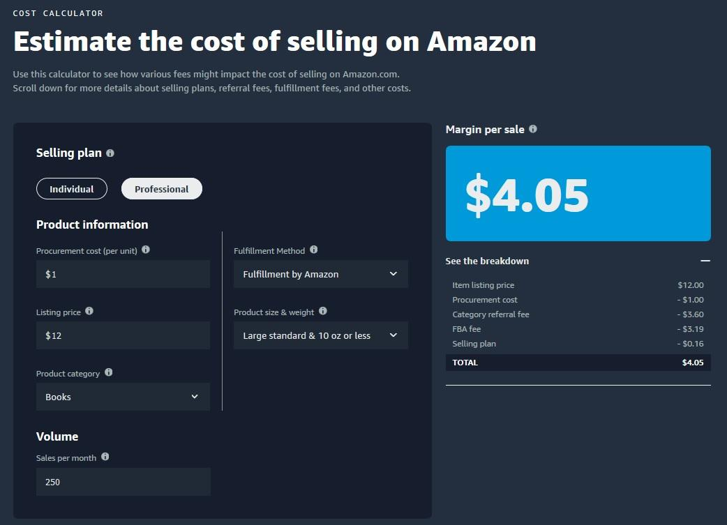 Amazon Cost Calculator