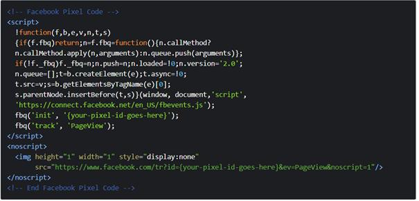Facebook Pixel code example
