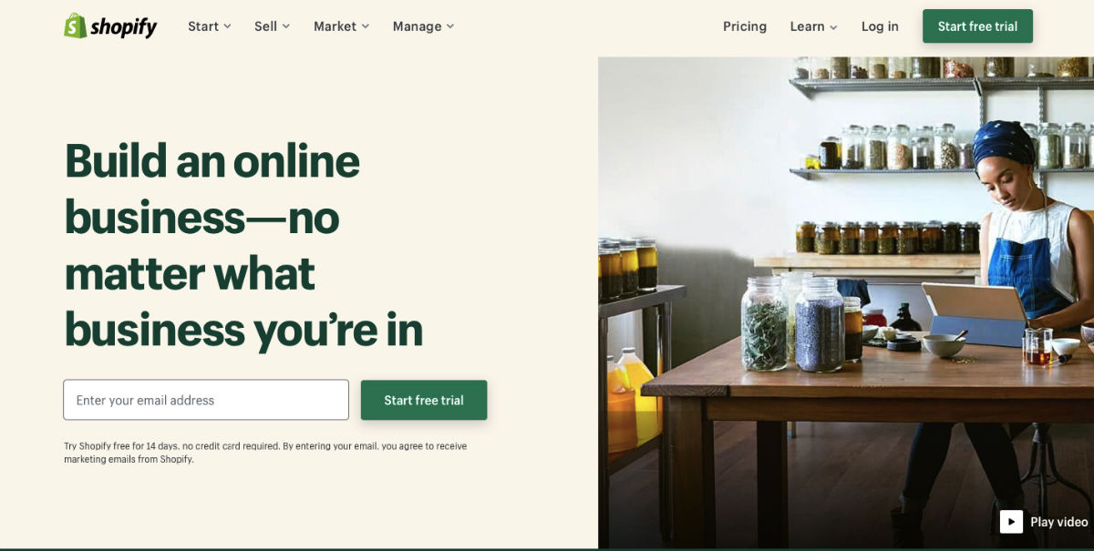 Shopify eCommerce web platform