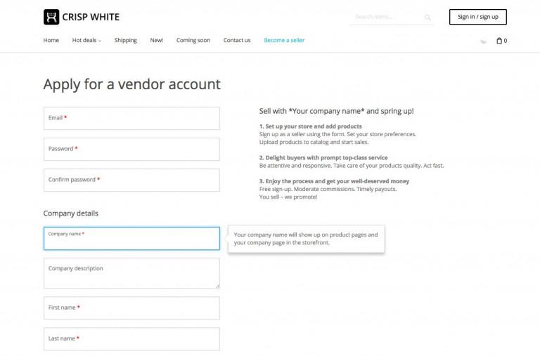 Vendor Registration Form in X-Cart