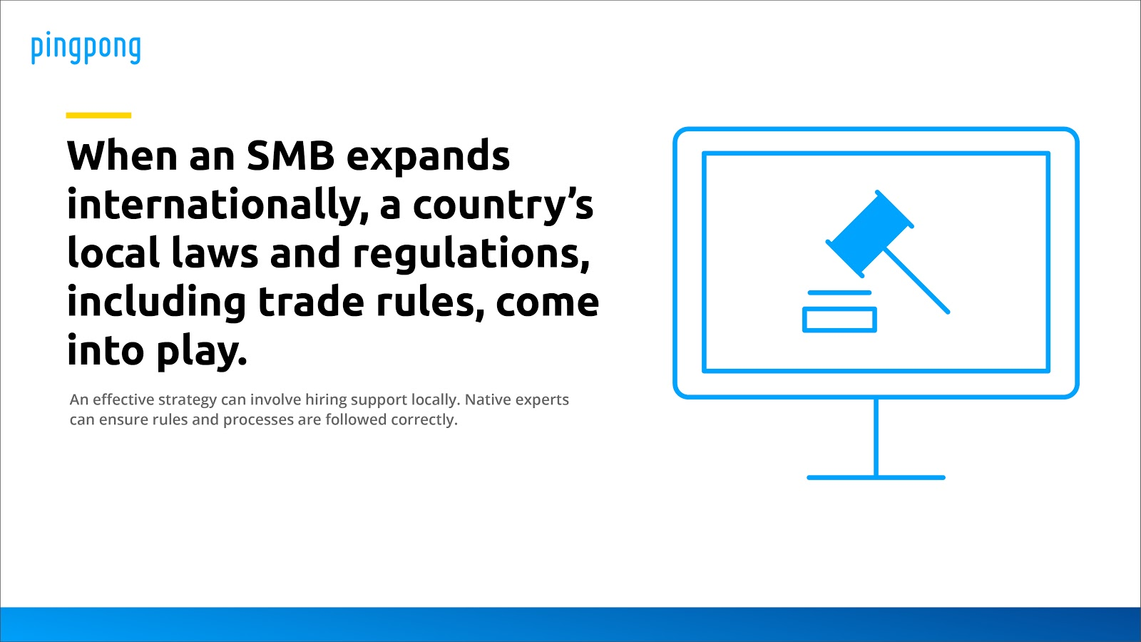 When an SMB expands internationally, a country's local laws and regulations, including trade rules, come into play.