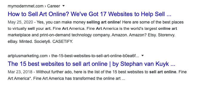Google's first page results