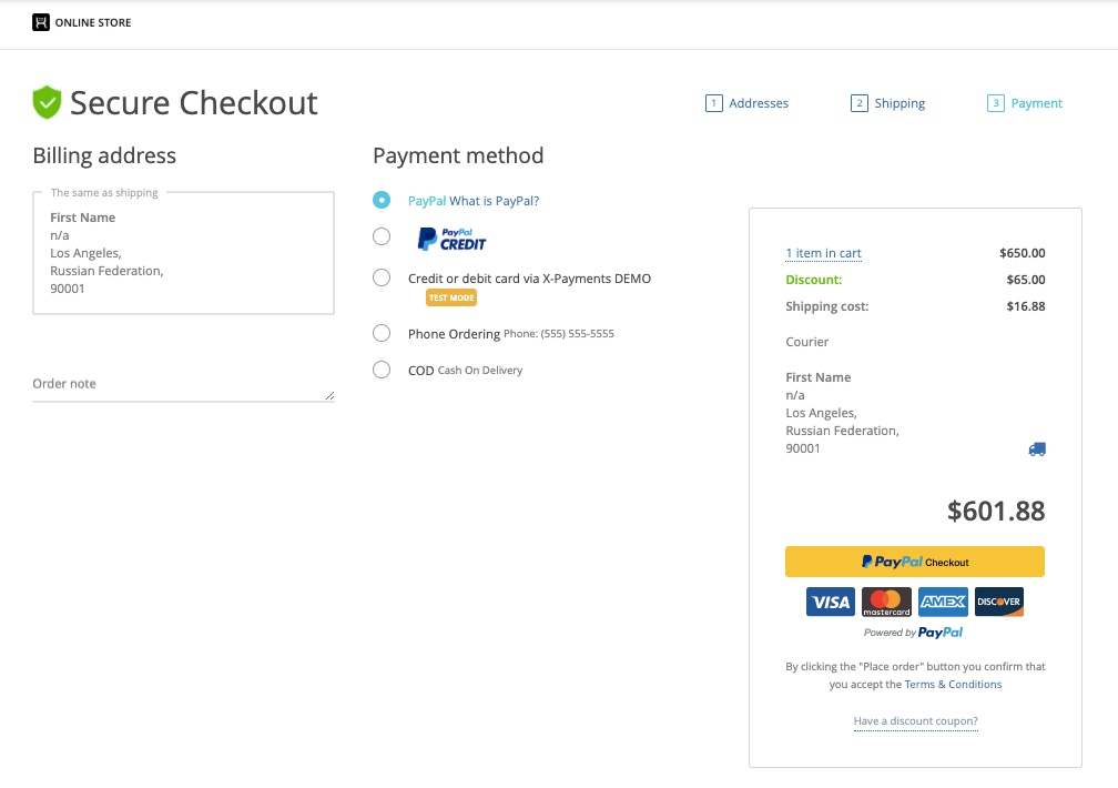 Example of a user-friendly checkout