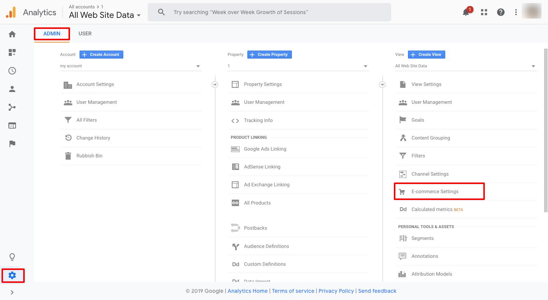 Enhanced eCommerce settings in Google Analytics