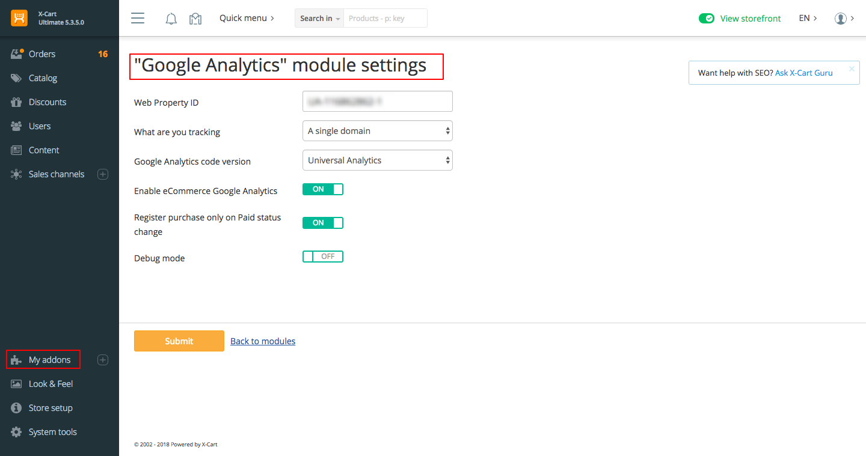 X-Cart Google Analytics addon settings