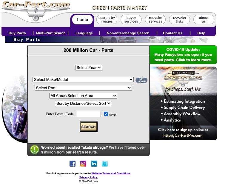 Large car parts database on Car-part.com