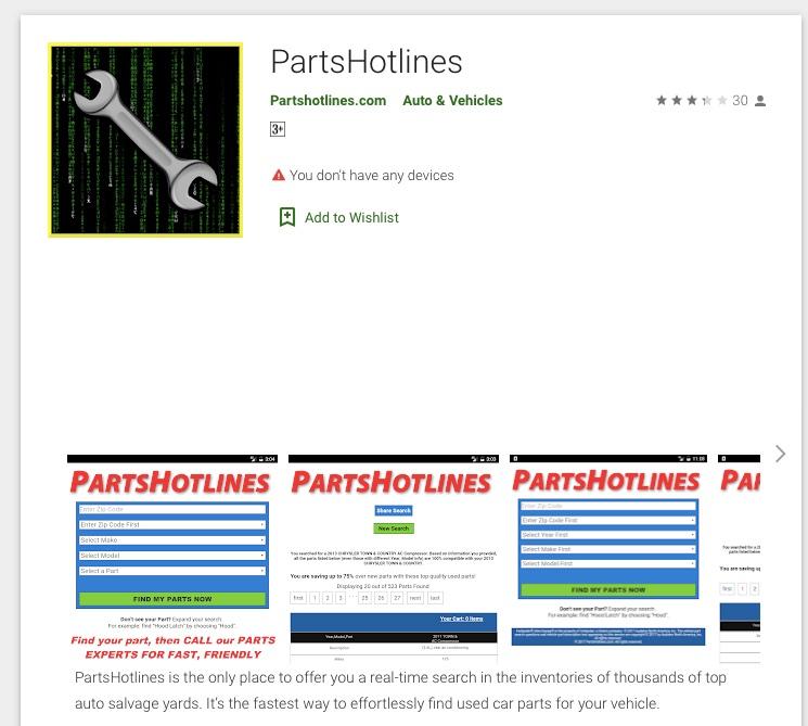 Parts Hotline mobile app